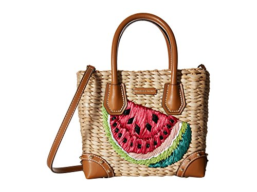 MICHAEL Michael Kors Malibu Medium Straw Watermelon Leather Satchel Bag, Natural Ultra Pink ()
