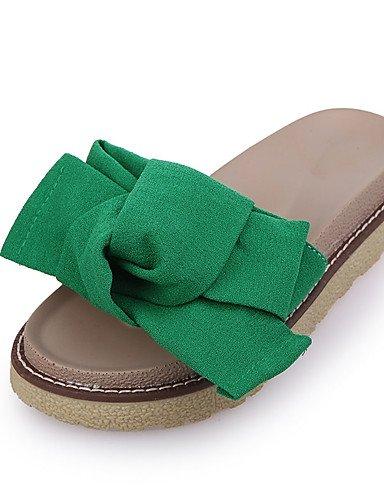 GGX/ Damen-High Heels-Lässig-PU-Flacher Absatz-Pantoffeln-Schwarz / Grün / Rot green-us6.5-7 / eu37 / uk4.5-5 / cn37