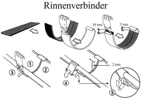 Dachrinnenverbinder Rinnenverbinder Dachrinne 7tlg.//280 NW127