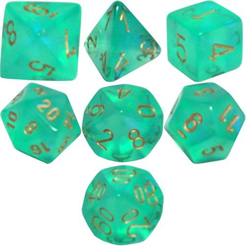 Polyhedral 7-Die Borealis Chessex Dice Set - Light Green with Gold Numbers CHX-27425 - Golden Iridescence 3 Light