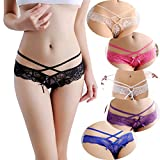 6 Pack Women's Sexy Lace Transparent Racking Pattern Seamless Thong Panty