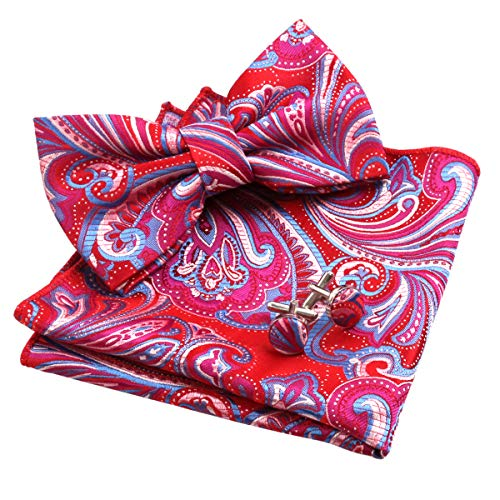 Multi Color Bow Tie - Alizeal Mens Multi-color Floral Pre-tied Bow Tie, Pocket Square and Cufflinks Set, Red+Turquoise+Magenta