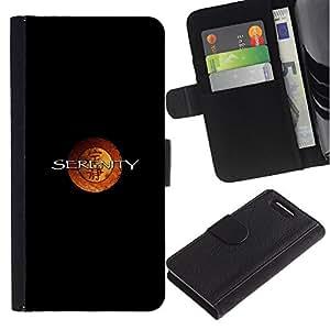 LECELL--Cuero de la tarjeta la carpeta del tirón Smartphone Slots Protección Holder For Sony Xperia Z3 Compact -- Serenidad chino Characto --