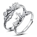 Infinite U 925 Sterling Silver Zirconia Anniversary Dragon/Phoenix Couples Rings