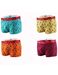 Nanjiren Men's 4 Pack Ultimate Waistband Boxer Briefs,Assorted colors