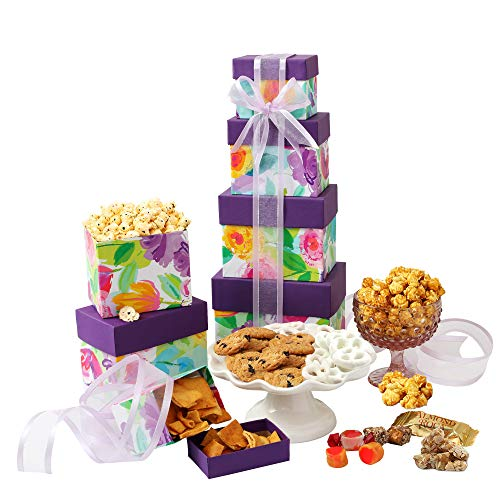 - Gourmet Gift Tower with Assorted Sweets and Snacks