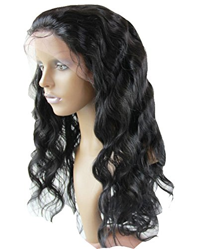 """Beautiful 8"""" Lace Front Human Wig For Black Woman Long Lace Wig Mongolian Virgin Remy Human Hair Body Wave Color #1 Jet Black"""