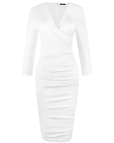 OUGES Womens V-Neck Knee Length Ruched Sheath Dress