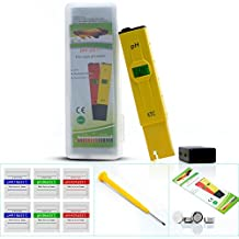 PH Pen Tester, Aukru High Accuracy PH Meter with ATC and Back Light LCD 0-14 pH Measurement Range, 0.01 Resolution Handheld pH Pen Tester for Drinking Water, Aquarium, Pool--Yellow