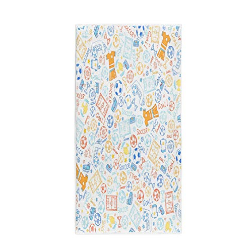 Champ Uniform (Semtomn 14 x 30 Inches Bath Towel Pattern Soccer Sports Doodle Trophy Sketch Stars Uniform Champ Soft Absorbent Travel Guest Decor Hand Towels Washcloth for Bathroom(One Side Printing))