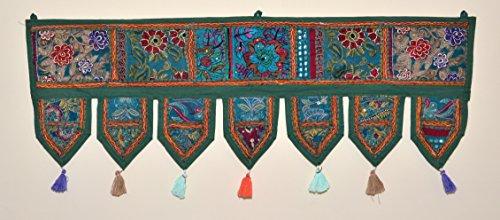 (ANJANIYA Indian Cotton Bohemian Ethnic Vintage Patchwork Door Topper Valances Window Valances Wall Hanging Boho Home Decor Hand Embroidered Toran Hippie Living Room Decor (38x13 inch) (Green))