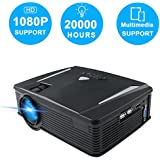 Portable Mini Projector Full HD, Neefeaer Video Projector Multimedia LCD Home Theatre Projector Support 1080P HDMI USB SD Card VGA AV TV Laptop iPad Smartphone for Home Entertainment Games