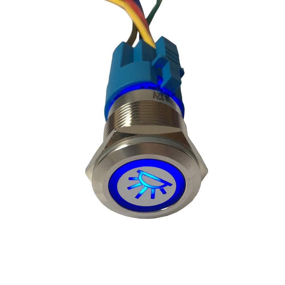 12 V, 19 mm Mintice Interruptor de Palanca de Acero Inoxidable con luz LED Azul para Coche