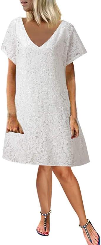 Beautynie Sommer Damska Übergröße Lace Minikleid Einfarbig Kurzarm Strandkleid Beiläufiges Loses Partykleid Bleistiftkleid Hochzeit Abendkleid Cocktailkleid: Odzież