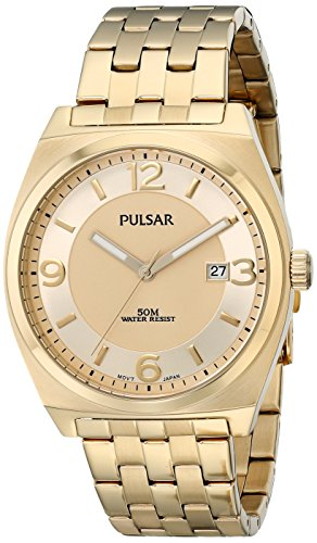 Pulsar Men's PS9282 Easy Style Collection Analog Display Japanese Quartz Gold - Pulsar Watch Gold Wrist