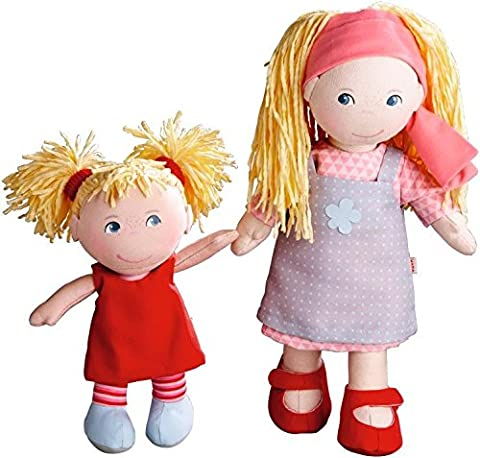HABA Lennja & Elin Sisters - 12 inch and 8 inch Soft Doll Pair (12 In Male Doll)