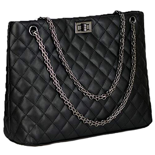 Diamond Quilted Handbag - Womens Satchel Hobo Chain Stylish Top Handle Convertable Totes PU Leather Handbag Shoulder Purse,Diamond Pattern Bucket Sling Bags,Black Color