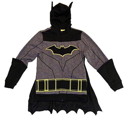 Boys DC Comics Batman zip up Sweatshirt Costume Dark Gray Medium