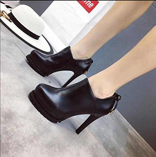 Shoes With Zipper Heeled 38 Round Mouth A Thin Head Water Boots Side Tie Deep High Black Shoes KHSKX Bare Bow 4UHBq