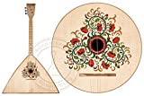 A souvenir Russian traditional three-stringed Balalaika with a special decoration. The decor is based on historical examples of old peasant paintings .Balalayker