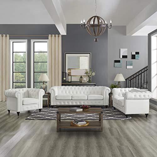 - Naomi Home 3 Piece Emery Chesterfield Sofa Set White