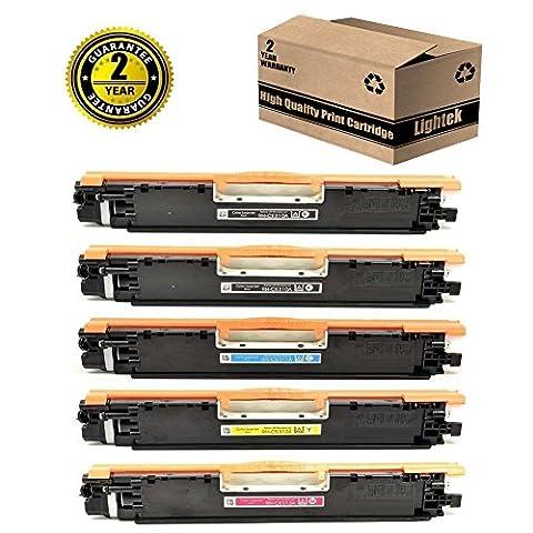 Lightek Compatible Toner Cartridge CE320A CE321A CE322A CE323A (128A) for HP Laserjet CP1525nw, Pro CM1415, 5 Pack (Hp Print Cartridge Ce320a)