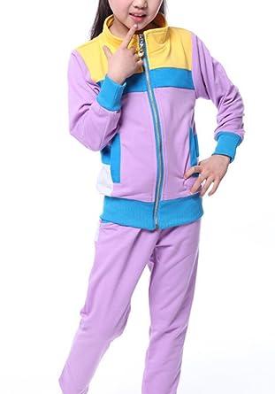 Banner Bonnie Big Girls Cotton Hoodie Zip Long Sleeve Tracksuit Set 6-7 Years, Purple//yellow//blue