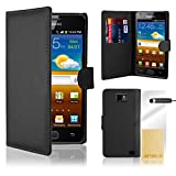 32nd Book wallet PU leather case cover for Samsung Galaxy S2 Sii i9100, including screen protector, cleaning cloth and touch stylus - Black