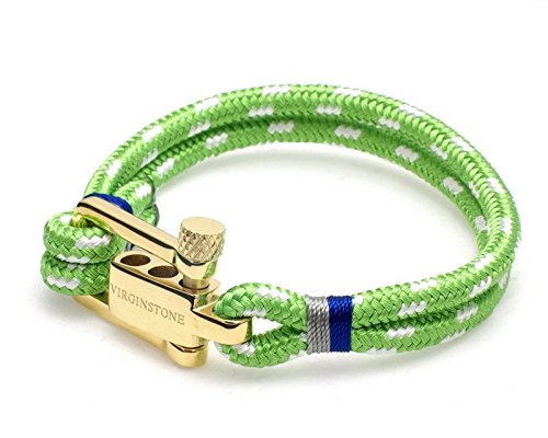 - VIRGINSTONE Plating Gold Stainless Steel U-Lock Nylon Cord Bracelets (Mint, M)