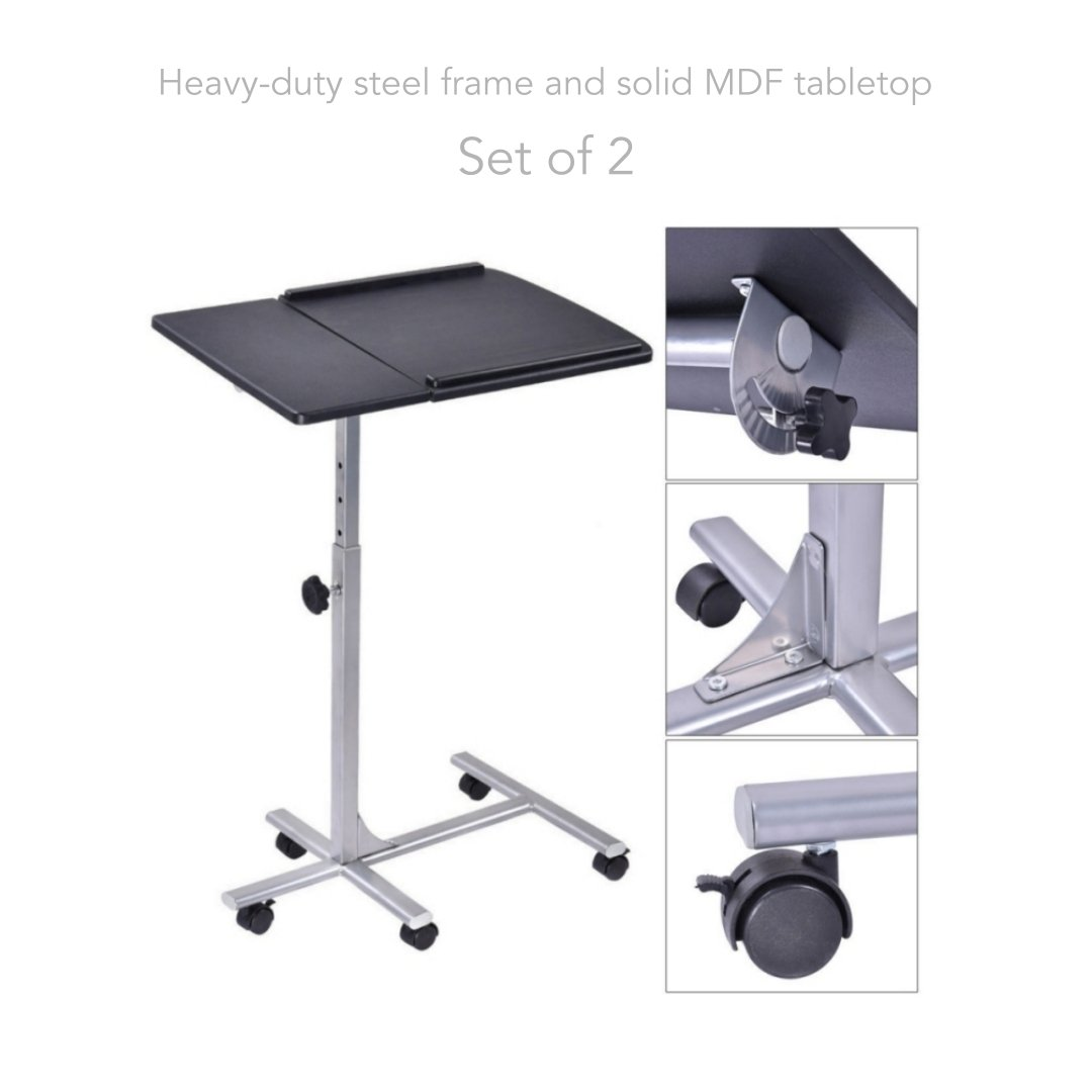 Laptop Notebook Smartphone Portable Table 5 Levels Adjustable Height Rolling Stand Desk Cart Sofa Tray Living Room School Home Office Furniture - Set of 2 #1583Blk