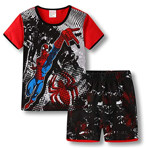 Boys Pajamas 100% Cotton Spiderman Short Kids Snug Fit Pjs Summer Toddler Sleepwear (Black, 5T) Boy Black Pjs Pajamas