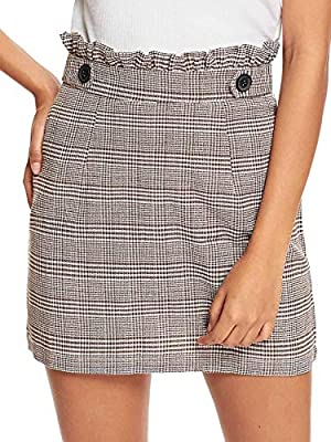 WDIRARA Women's Ruffle Trim Mid Waist Above Knee A-Line Mini Short Plaid Skirt