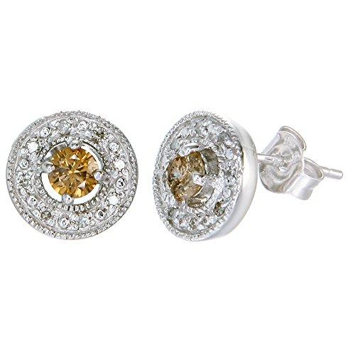 1/2 cttw Champagne Diamond Stud Earrings in Sterling Silver