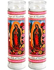 greenbier Prayer Candles - Lady of Guadalupe Candle (2 Pc) Great for Sanctuary Vigils and Prayers - Unscented Glass Candle Set - Jar Candles - Devotional Spiritual Religious Church Cemeteries