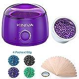 Wax Warmer Hair Removal, Electric Waxing Heater Pot Kit, Hard Wax Warmer Melt Beans Kits, Professional Painless Melting Beads Applicators Sticks(Home Use) - Purple