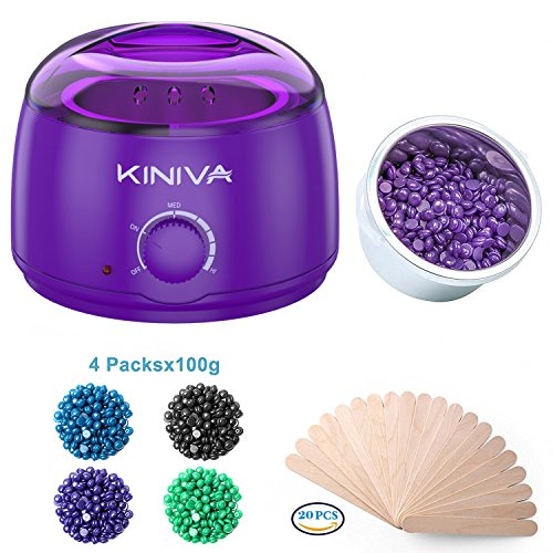 Wax Warmer Hair Removal, Electric Waxing Heater Pot Kit, Hard Wax Warmer Melt Beans Kits, Professional Painless Melting Beads Applicators Sticks(Home Use) – Purple Review