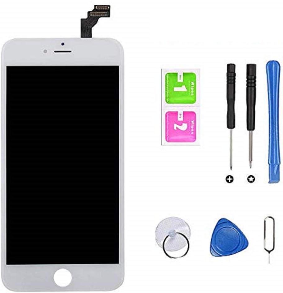 Hoonyer Pantalla para iPhone 6 Pantalla táctil LCD Kit de Pantalla de Vidrio Desmontaje Repuesto Ensamblaje de Marco Digitalizador Herramienta de reemplazo de conversión Completa(4.7
