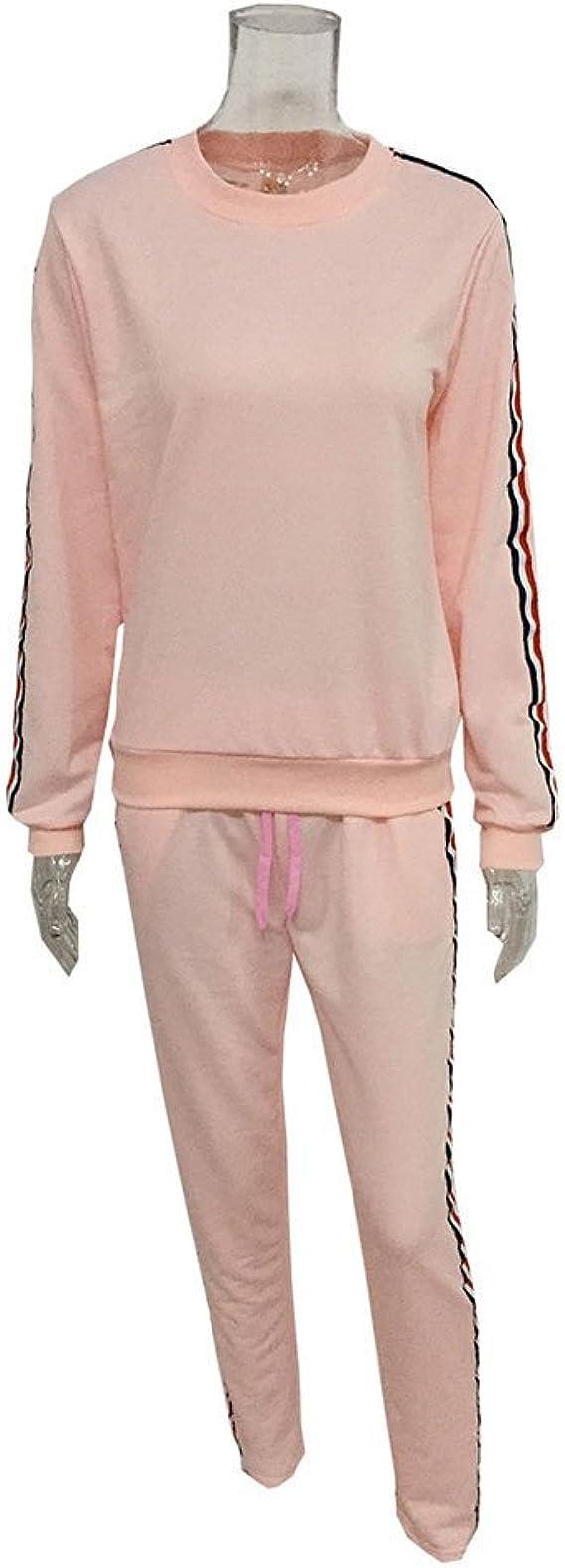 SuperSU Frauen 2 PCS Trainingsanzüge Set Damen Jogger Active Sport Bluse Tops Hosen Sets Fleece Anzug Hausanzug aus wärmenden Fleece Damen
