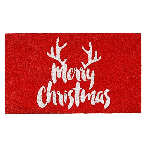 Calloway Mills 101741729 Christmas Antlers Doormat 17 x 29 Red/White