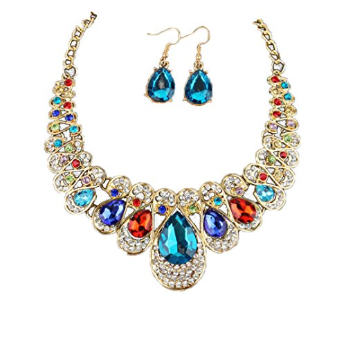 Gallity Women Elegant Crystal Gothic Lolita Red Pendant Charming Choker Necklace Jewelry Earrings Set (Multicolor)