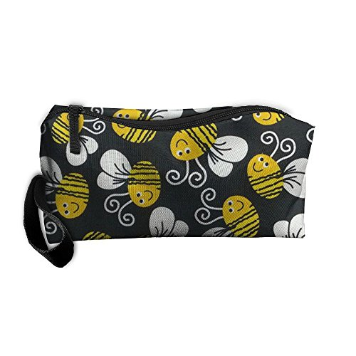 Cute Bumblebee Cosmetic Bags Brush Pouch Makeup Bag Zipper Wallet Hangbag Pen Organizer Carry Case Wristlet Holder ()