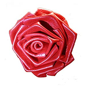 Leather Rose Flower RED - all leather - wire stem - Made in USA 89