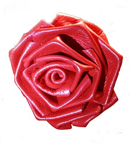 (Leather Rose Flower RED - all leather - wire stem - Made in)
