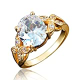 BLOOMCHARM My Soul' 18K Rose Gold Plated Cubic Zirconia Engagement Wedding Ring, Gifts for Women Girls (Clear White, 9)