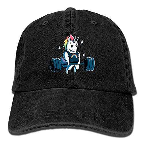 Men Women Camp Hair Unicorn for Weightlifting Cotton Denim Baseball Hat Adjustable Street Rapper Hat]()
