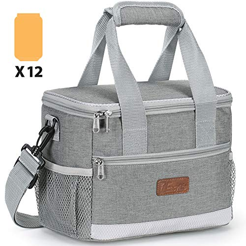 1Easylife Lunch Bag for Women Men, Insulated Lunch Box Tote Cooler Bag for Boys, Girls, Kids Leakproof Lunch Container for Work, School, Picnic, Hiking, Beach(Grey)
