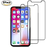 iPhone X Screen Protector,Eglass [ Full Coverage ] [0.26mm 3D] [Bubble-Free] [9H Hardness] [Easy Installation] Tempered Glass Screen Protector for iPhone X (Black)