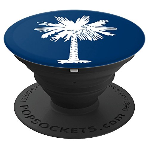 Palm Blue Tree (Palm Tree PopSocket Grip Blue & White Design for Cell Phones - PopSockets Grip and Stand for Phones and Tablets)
