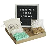 "Felt Letter Message Board with Rustic 10""x10"" - Oak Wood Hand Painted White Frame - with Stand, Wall Hanger and Changeable 400 Letters Plus 30 Words (Pre-Cut) … (Black)"