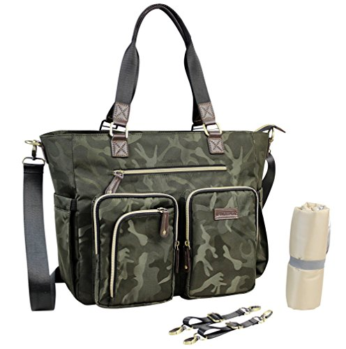 INNOSTAGE Diaper Tote Diaper Bag for Mums with Waterproof Changing Mat and Stroller Straps, Best Stylish Mommy Handbags for Baby Nappy-Green Camo